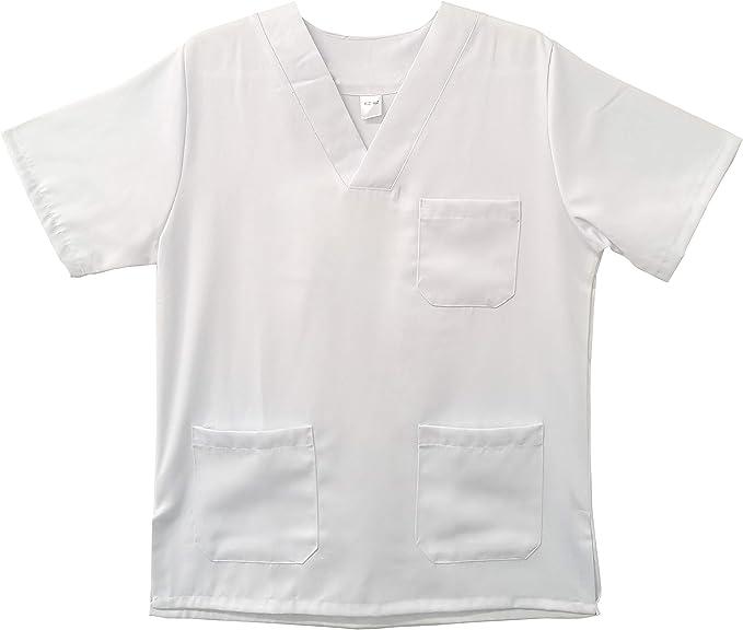 Kiz Kiz Bata de Laboratorio Blanca Uniforme Sanitario Unisex Hombre Y Mujer Uniforme Hospitalario Disfraz de Doctor Enfermera Cocinero: Amazon.es: Ropa y accesorios