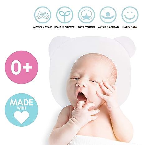 Baby Spass - Almohada Bebe para Plagiocefalia | Previene Cura y Evita la Cabeza Plana | Espuma de Memoria Anti-asfixia | Almohada Ortopédica Cojín ...