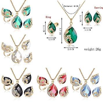 c19093173e1c llguz moda mujer pavo real joyas de gotas de agua cristal collar + anillo +  pendientes Set de tres piezas conjunto de regalo de joyería