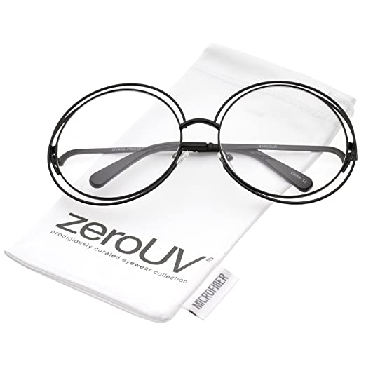 a5dc13c23d Women s Oversize Wire Frame Clear Lens Round Eyeglasses 62mm (Black Clear)