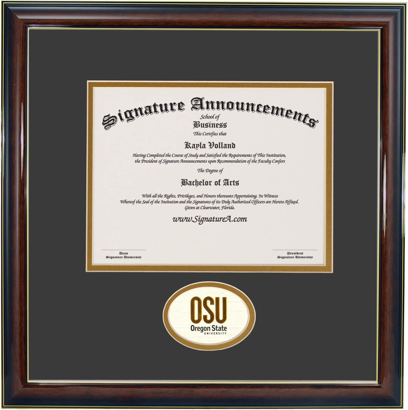 Sculpted Foil Seal /& Name Graduation Diploma Frame Gold Accent Gloss Mahogany Signature Announcements Portland-State-University Undergraduate 16 x 16