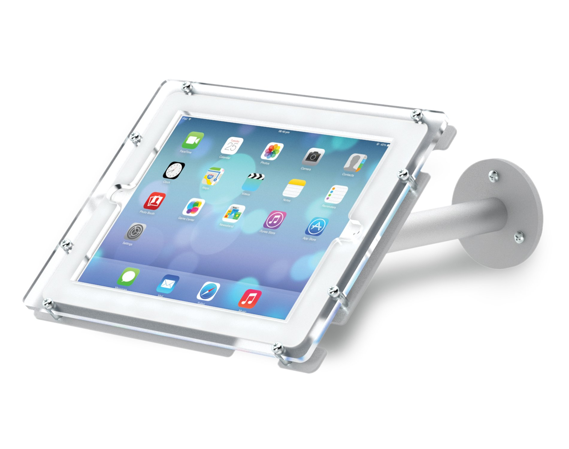 Trendrite Wall Mount iPad Pro Holder with Double-Flange Base for iPad 9.7, Satin Silver by DisplayFair