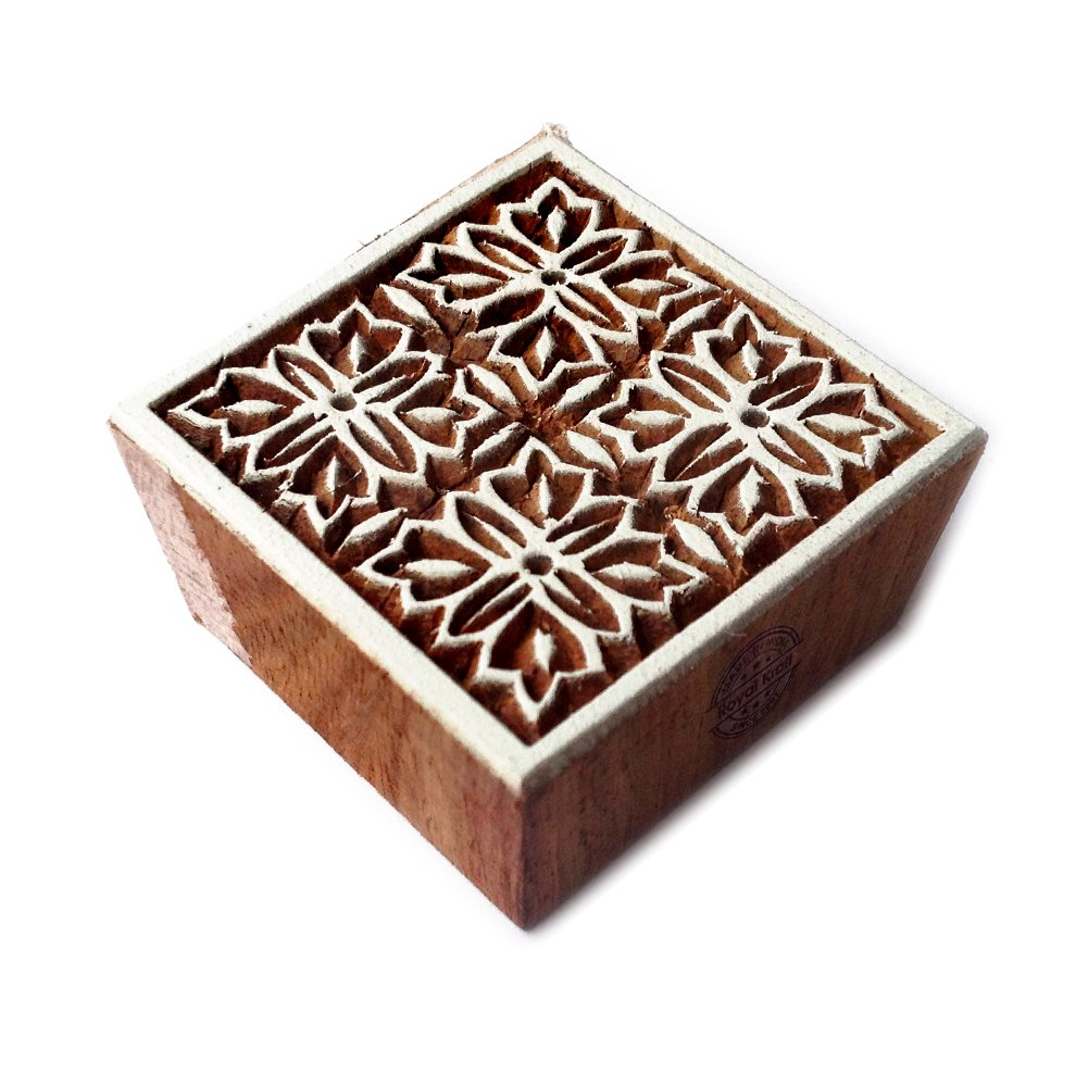 Royal Kraft Crafty Quadrato Floreale Designs Legno Blocco Tessile Timbro THCtag022