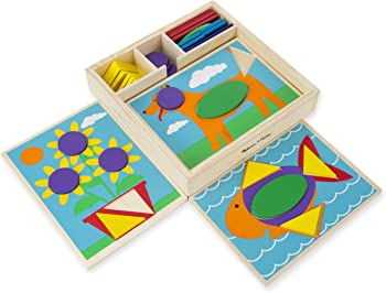 Melissa & Doug Beginner Wooden Pattern Blocks Educational Toy