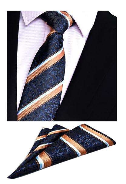 365d3fac1b50 Amazon.com: MOHSLEE Men Orange Striped Necktie Hanky Elegant Silk Suit Tie  Pocket Square Set: Clothing