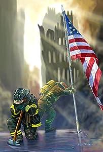 Toland Home Garden American Heroes 12.5 x 18 Inch Decorative Patriotic September 11 Firefighter USA Garden Flag