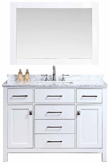 Ari Kitchen and Bath AKB-BELLA-48-WH Vanity Set with Mirror, 48\