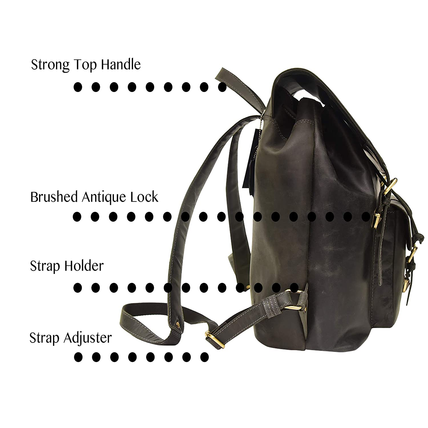 Picchio Top Quality Vintage Full Grain Leather Black Unisex Backpack