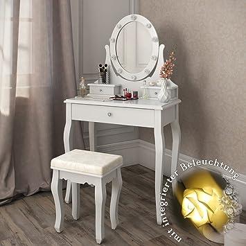 Frisiertisch Ohne Spiegel schminktisch villandry weiß mit hocker und lichterkette