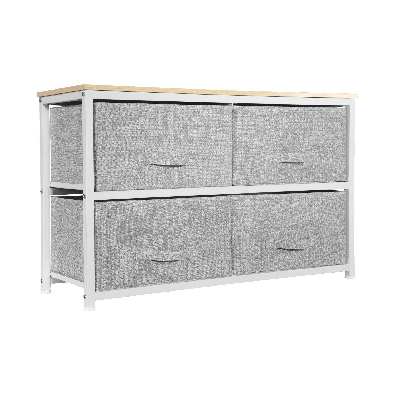 Aingoo Dresser Storage 4 Drawers Storage Bedroom Steel Frame Fabric Wide Dressers Drawers for Clothes Grey Wood Board (2X2 Drawers, Grey) by Aingoo