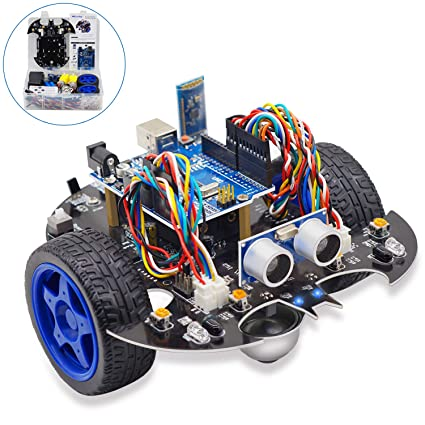 Yahboom Arduino UNO R3 Bat Smart Robot Car Project Complete Starter Kit  with Tutorial Learning & Educational Electronic Toy (Black)
