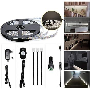 Sensky Motion Sensor LED Under Cabinet Lighting Kit Extendable Under Counter LED Light with Motion Sensor, Power Adapter for Gun Safe Light, Shelf, ...
