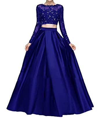 HeleneBridal Womens Beaded Lace Bodice Two Piece Prom Dresses 2018 Long Sleeves Evening Party Ball Gowns