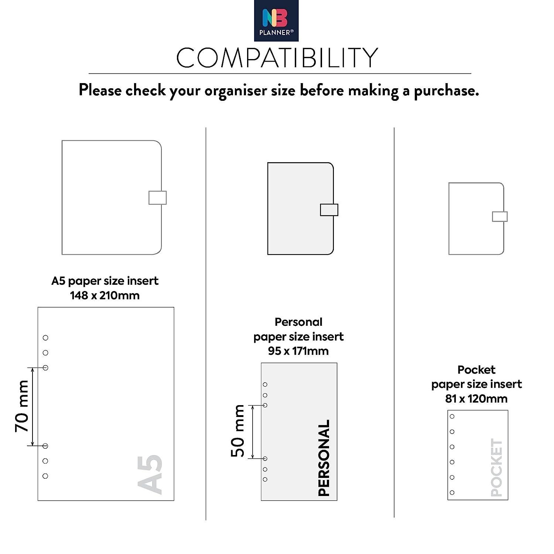 comptabilit/é Filofax Color/ée a5 En anglais NBplanner/® Recharge de pages pour Organiseur de suivi des d/épenses et r/égime