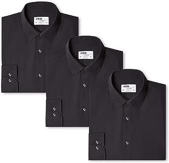 Marca Amazon - Hem & Seam Camisa Lisa Slim Fit Hombre, Pack de 3, Schwarz (Black / Black / Black), 39 cm, Label: M: Amazon.es: Ropa y accesorios