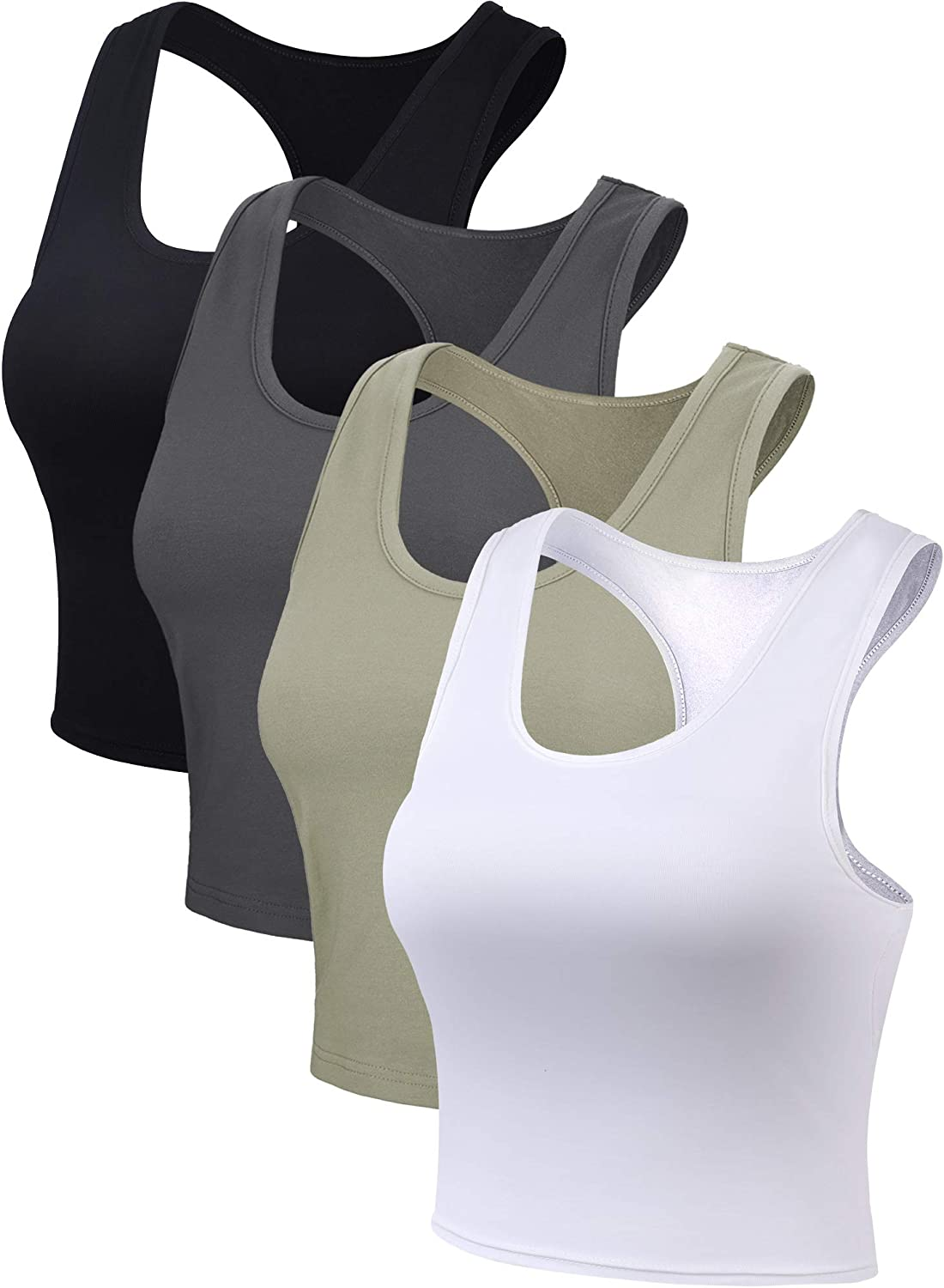 4 Pieces Women Cotton Basic Sleeveless Racerback Tank Top Camisole Sports Crop Top for Daily Wearing: Clothing