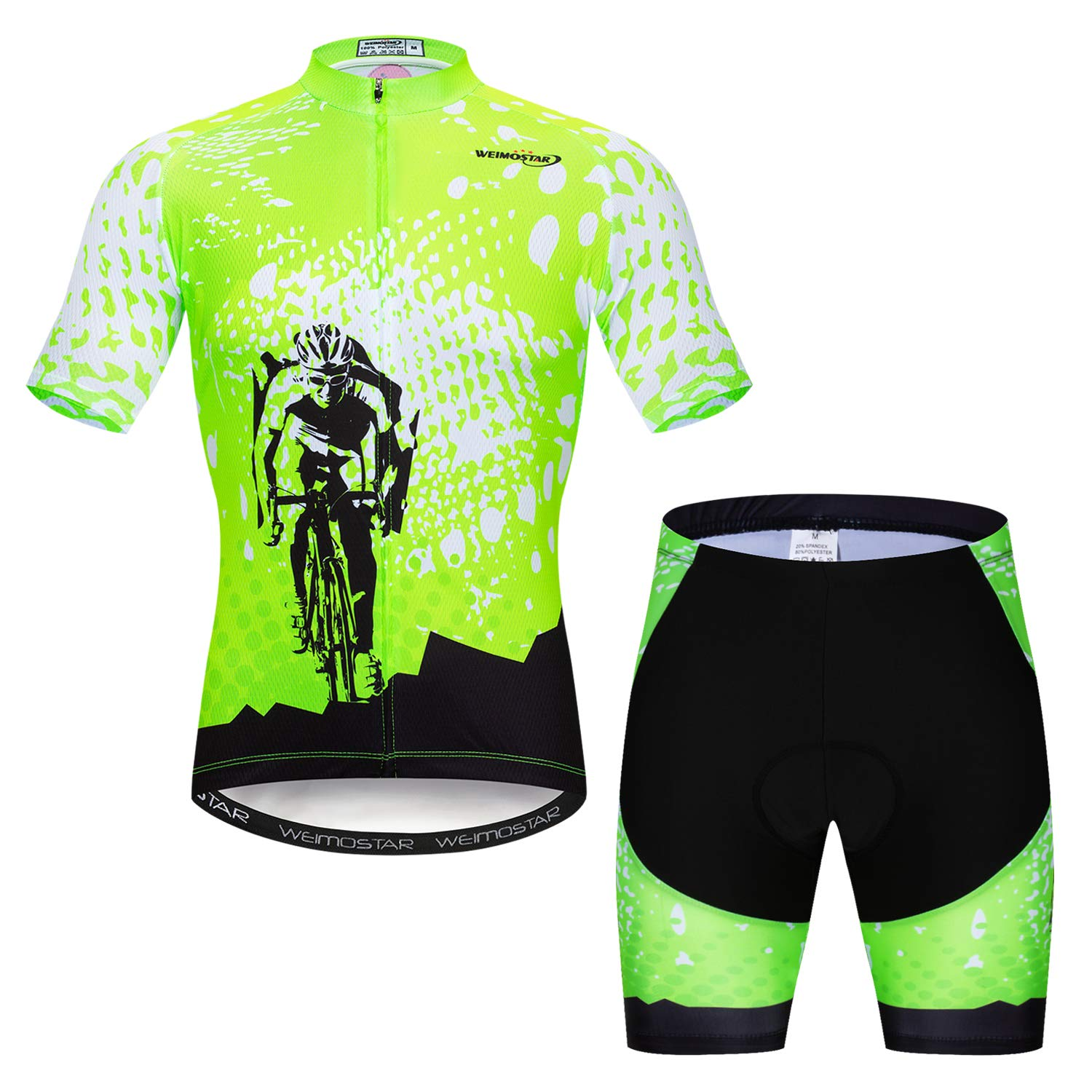 Men's Cycling Jersey Set Road Biking Short Sleeve Kit 4D Gel Padded Bib Shorts Full Zipper Closure Bicycle Clothing Green Quick Dry Breathable Size XL by Xinzechen