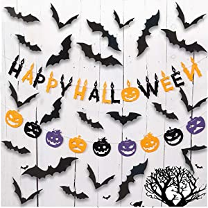 Happy Halloween Banner with 60PCS 3D Black Spooky Scary Bats Wall Stickers Decal, Happy Halloween Banner Outdoor or Indoor for Farmhouse, Porch, Halloween Decor Indoor Party Decorations Supplies(B)