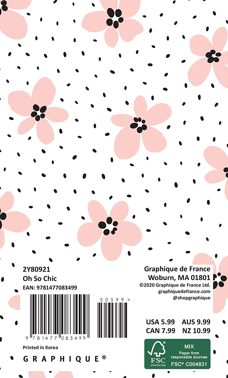 3.75 x 6 Graphique 2020 OH So Chic 2 Year Planner /— 29-Month Planner in 4 Languages Reference Pages Public and Culturally Significant Holidays Includes Notes
