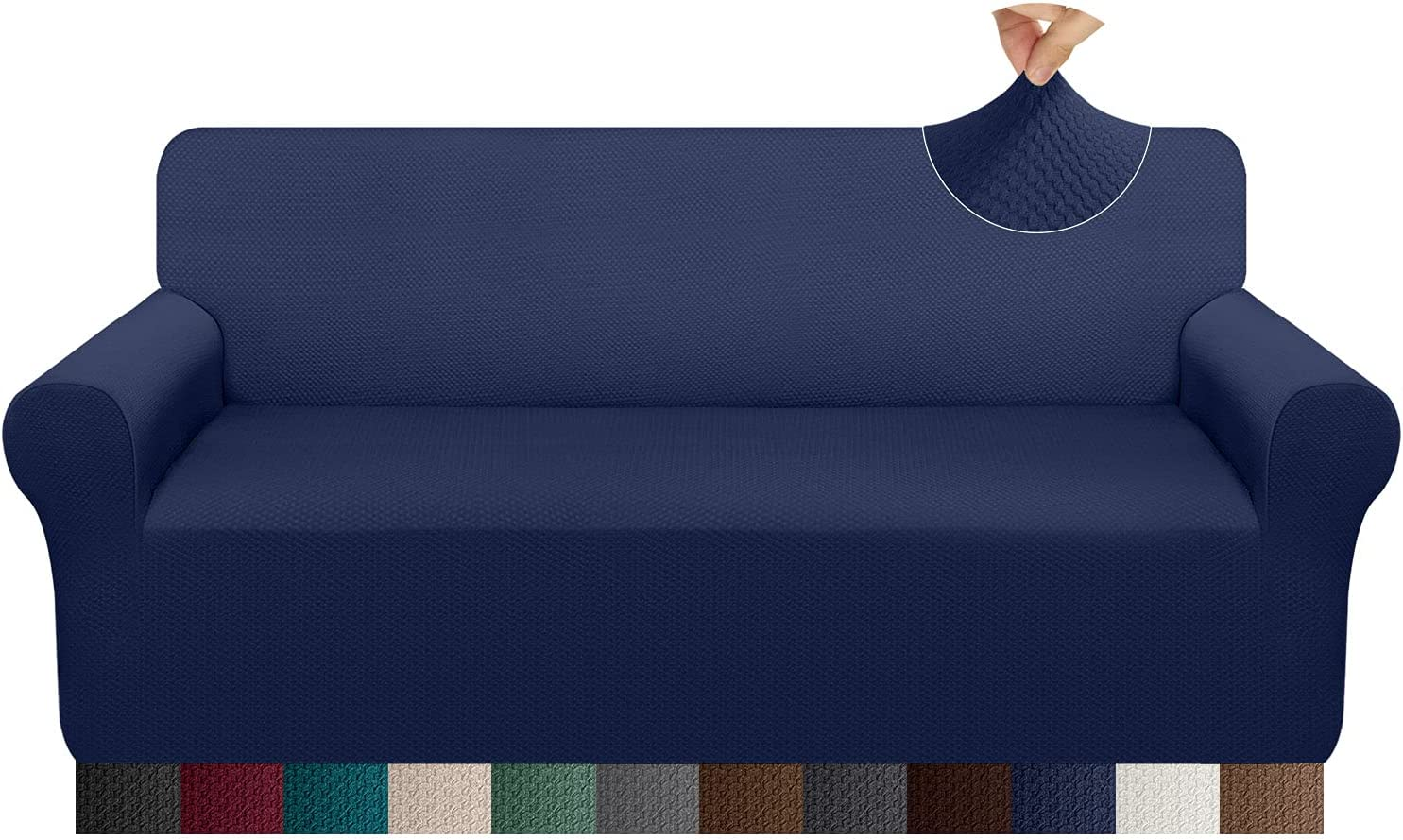 Pitpet Thickened Sofa Cover Stretch Unique Pattern Couch Covers for Oversized Couch Anti-Slip Sofa Slipcover for Dogs Pets Friendly Furniture Protector with Elastic Band (X-Large, Navy Blue)