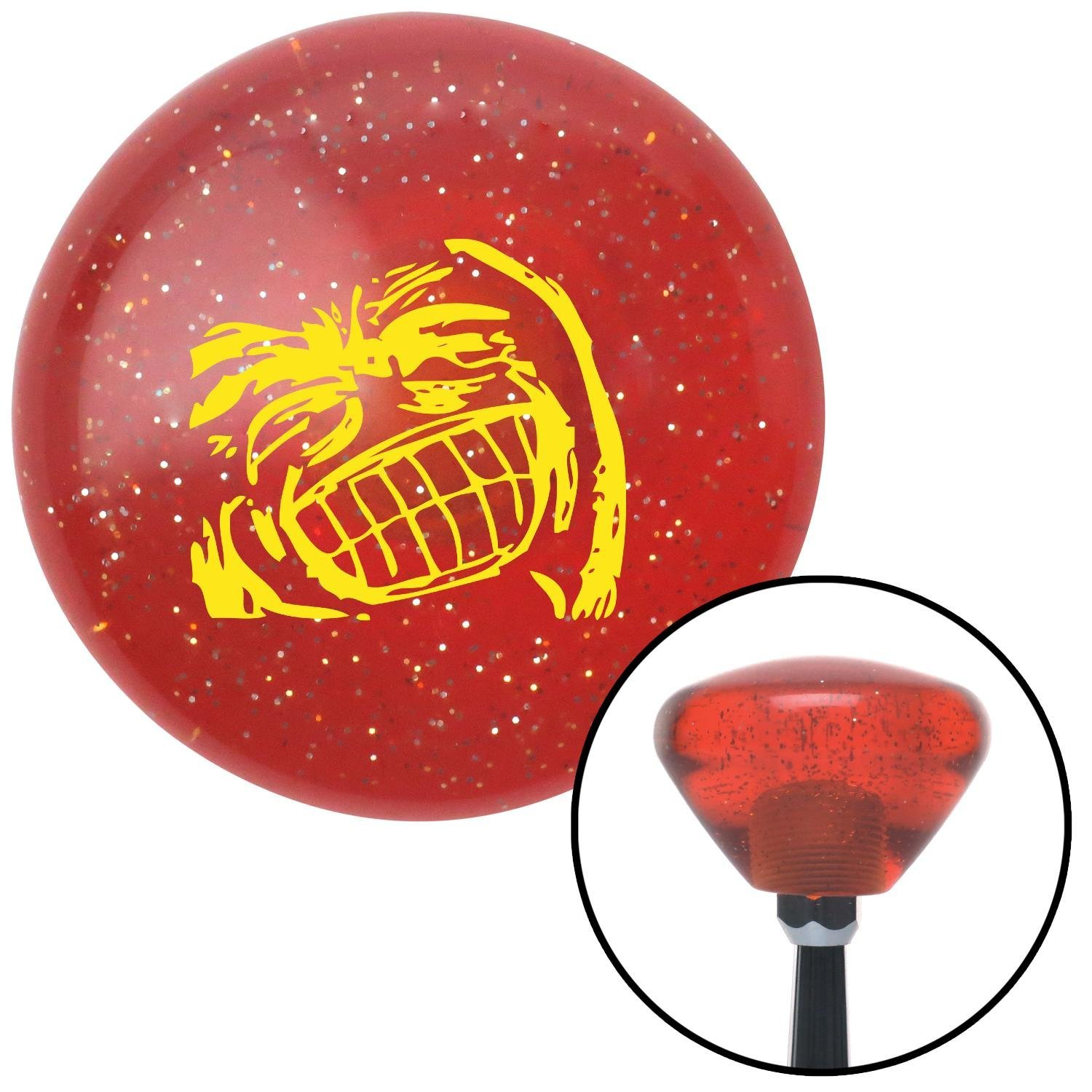 American Shifter 178037 Orange Retro Metal Flake Shift Knob with M16 x 1.5 Insert Yellow Big Grin Meme