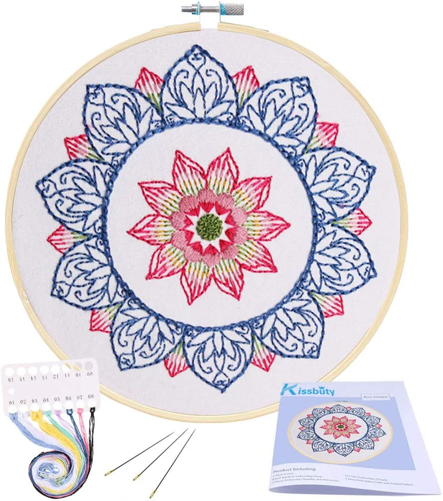 Full Range of Embroidery Starter Kit with Pattern, Kissbuty Cross Stitch Kit Including Embroidery Cloth with Floral Pattern, Bamboo Embroidery Hoop, Color Threads and Tools Kit (Blue Mandala)