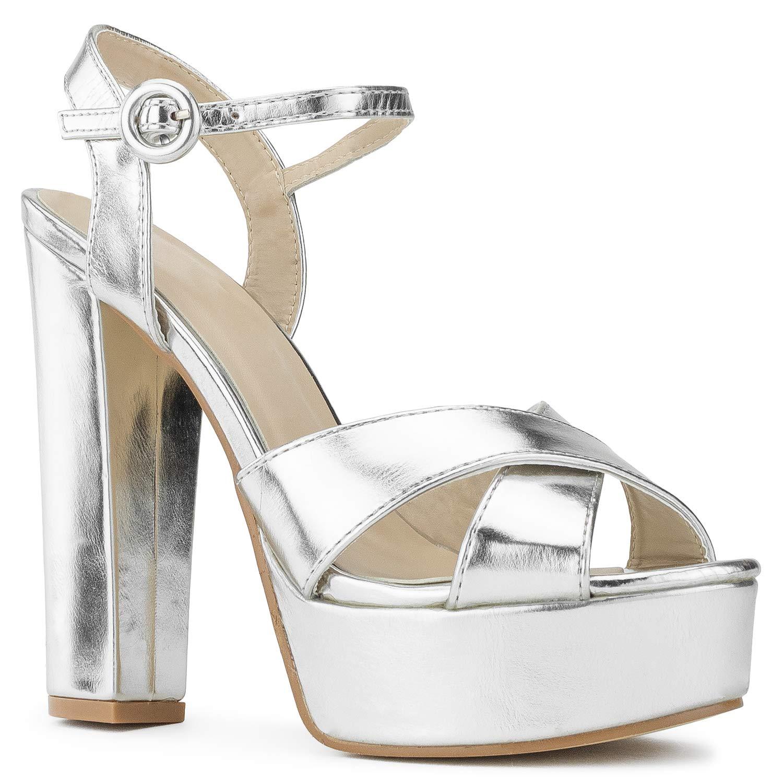 Silver Met Room Of Fashion RF Fashion D'Orsay Ankle Strap Kitten Heel Dress Sandal - Ess.