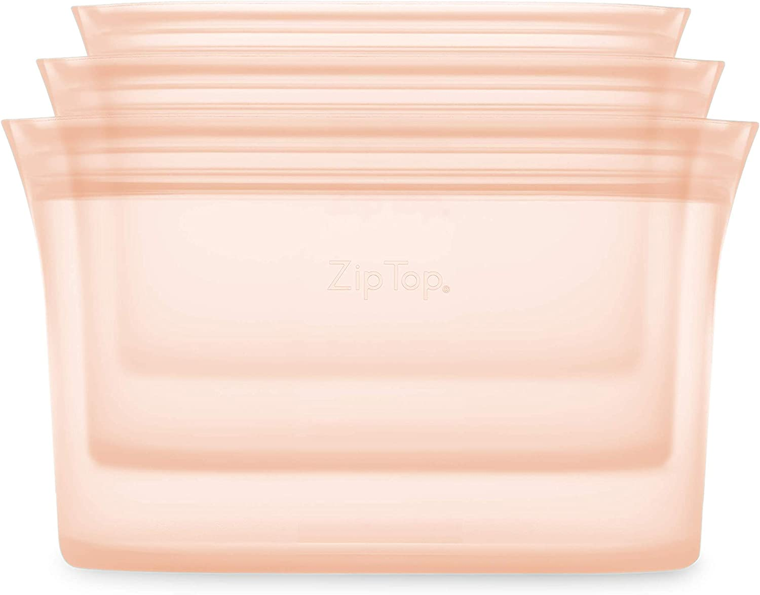 Zip Top Reusable 100% Silicone Food Storage Bags and Containers - 3 Dish Set - Peach
