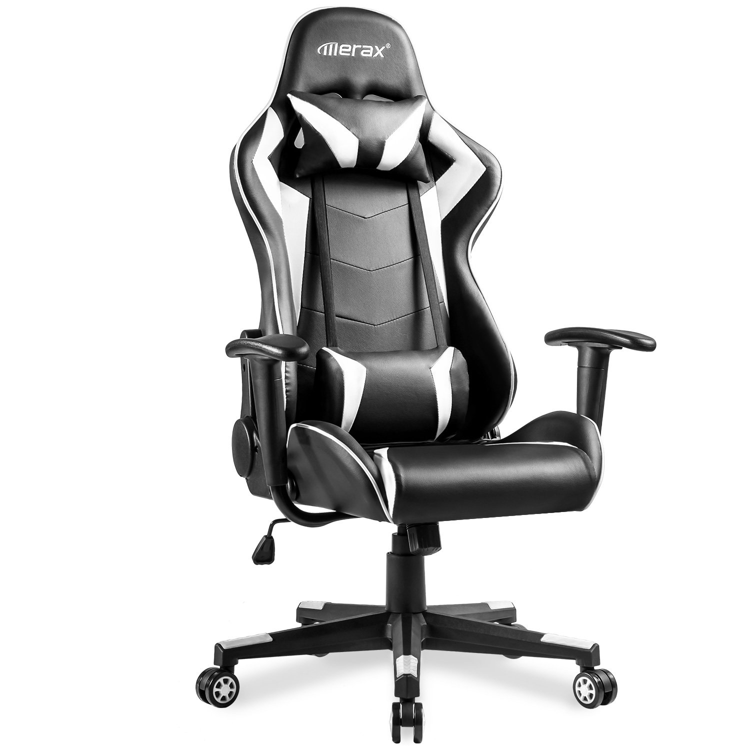 Gaming Chair PU Swivel Adjustable Racing Chair with Headrest and Lumbar Support White and Black
