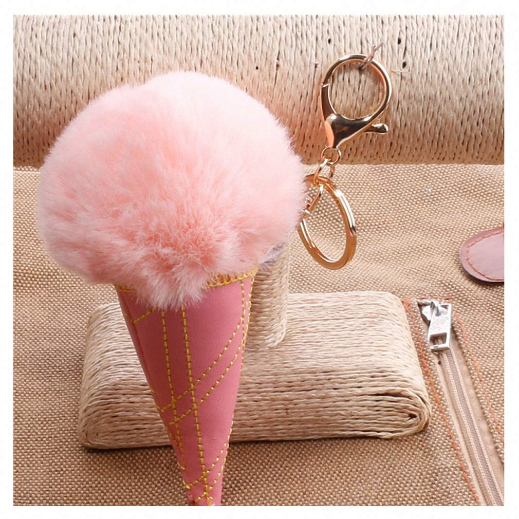Amazon.com  Womens Newest 17 Colors Pom Pom Ball Keychain Pompom Ice Cream  Fur Key Chain for Women Porte Clef Key Ring Llaveros Chaveiros DJ63710   Office ... 532a5161b9