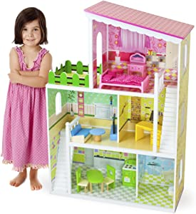 Imagination Generation Living Large! Modern Design Wooden Multi-Level Dollhouse with 18 pcs of Decorative Furniture for 8