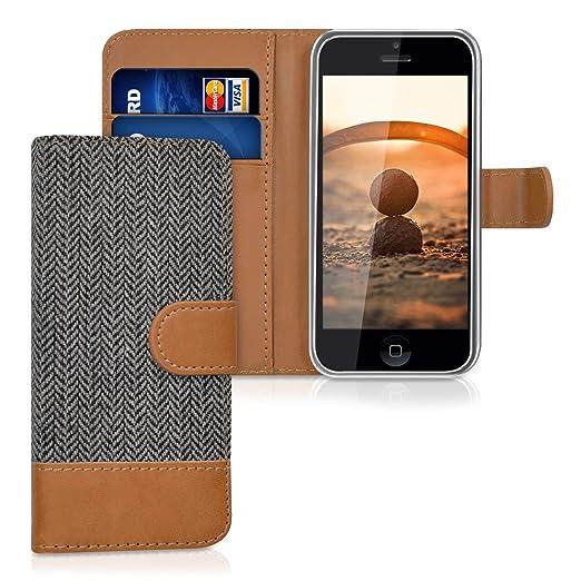 4 opinioni per kwmobile Custodia portafoglio per Apple iPhone 5C- Cover in simil pelle a libro