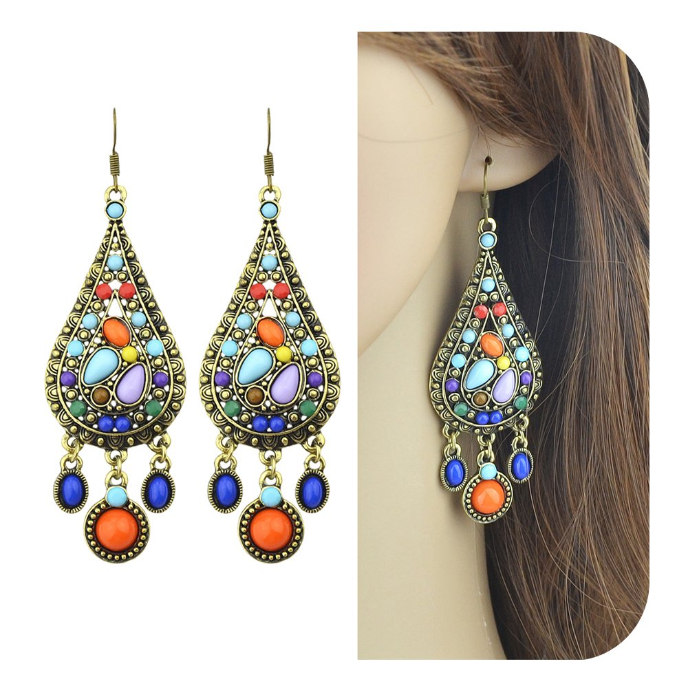 Feelontop® Ethnic Style Vintage Bohemian Antique Gold Colorful Gemstone Drop Earrings with Jewelry Pouch Er-3822