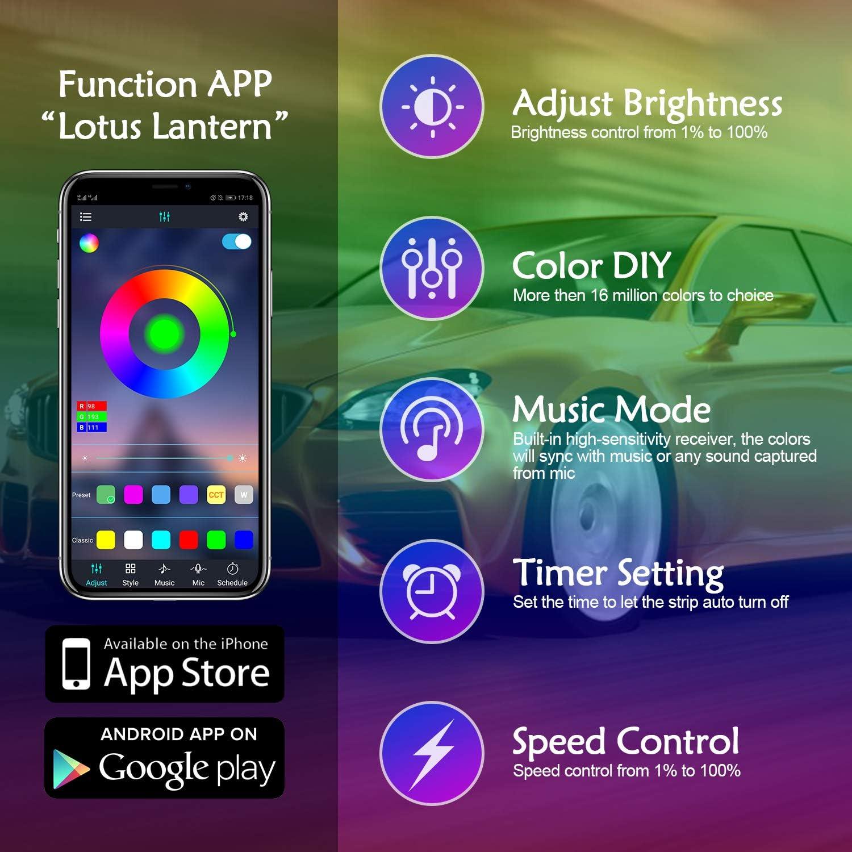 Hotaluyt 5 Meter Auto-Innen Atmosph/äre LED-Licht-Streifen dekorative Lampe Flexibles Licht Automobil-Zubeh/ör Blau