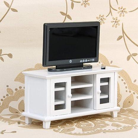 Peachy Amazon Com Miniature Furniture White Wooden Tv Cabinet Creativecarmelina Interior Chair Design Creativecarmelinacom