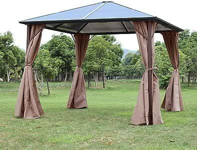 YANG - Cubierta de toldo de Acero y policarbonato con Malla para toldo, Resistente a la Intemperie, para Patio o jardín, tamaño 10 x 12: Amazon.es: Jardín