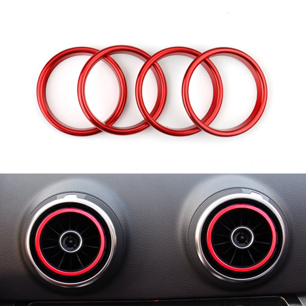 LITTOU L/üftungsringe Auto Klimaanlage Outlet Decoration Ring Cover Sticker Aluminium Alloy Rot
