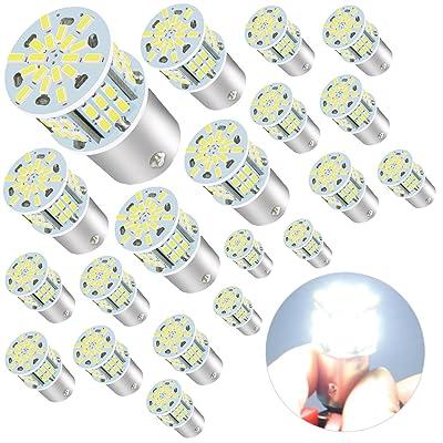 1156 Bulb Super Bright 1141 1003 BA15S 7506 LED Light Bulb for RV Indoor Lights 12V 6000K Xenon White, 20 Packs: Automotive