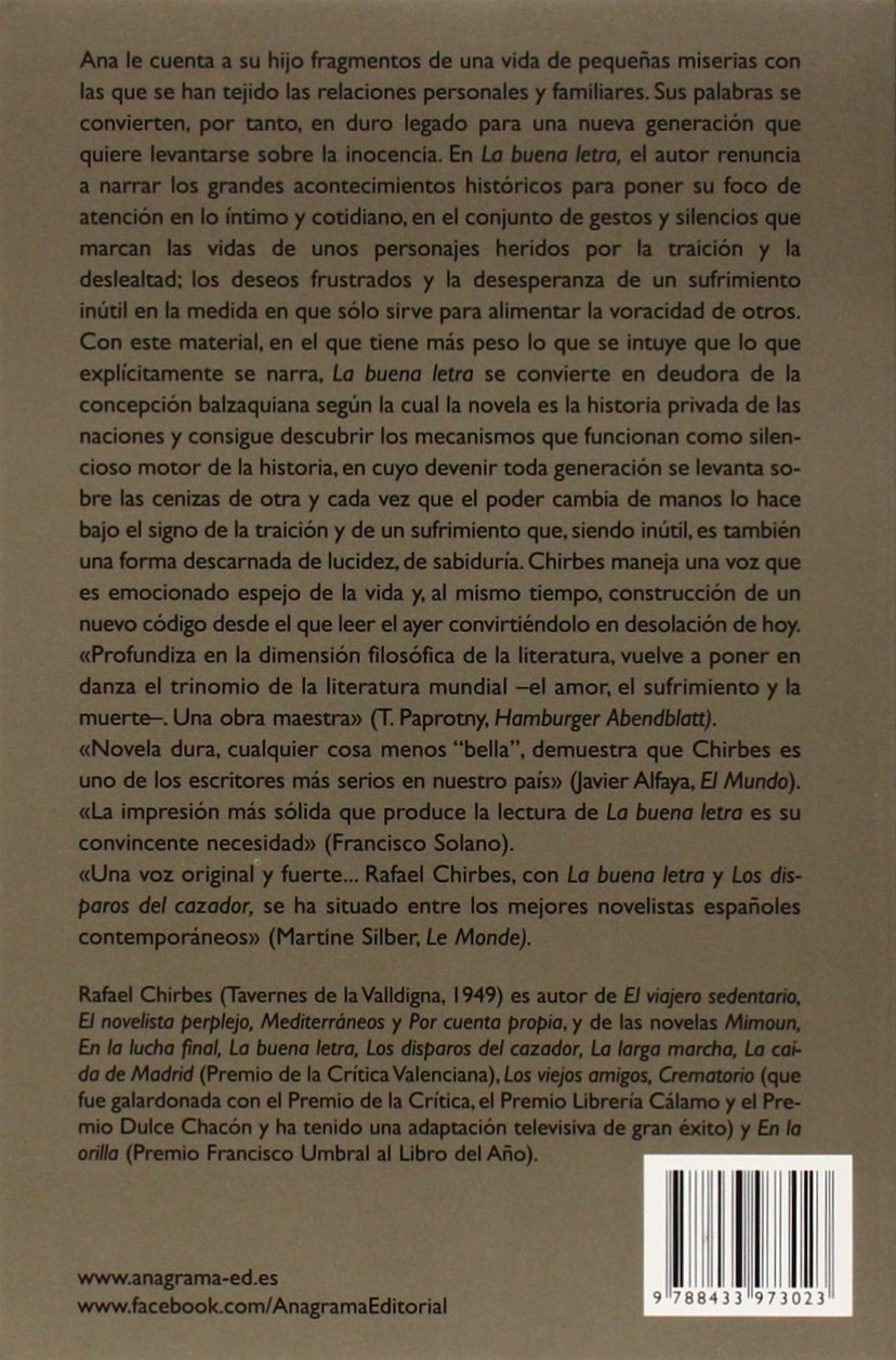 La buena letra (Compactos Anagrama): Amazon.es: Rafael Chirbes Magraner:  Libros