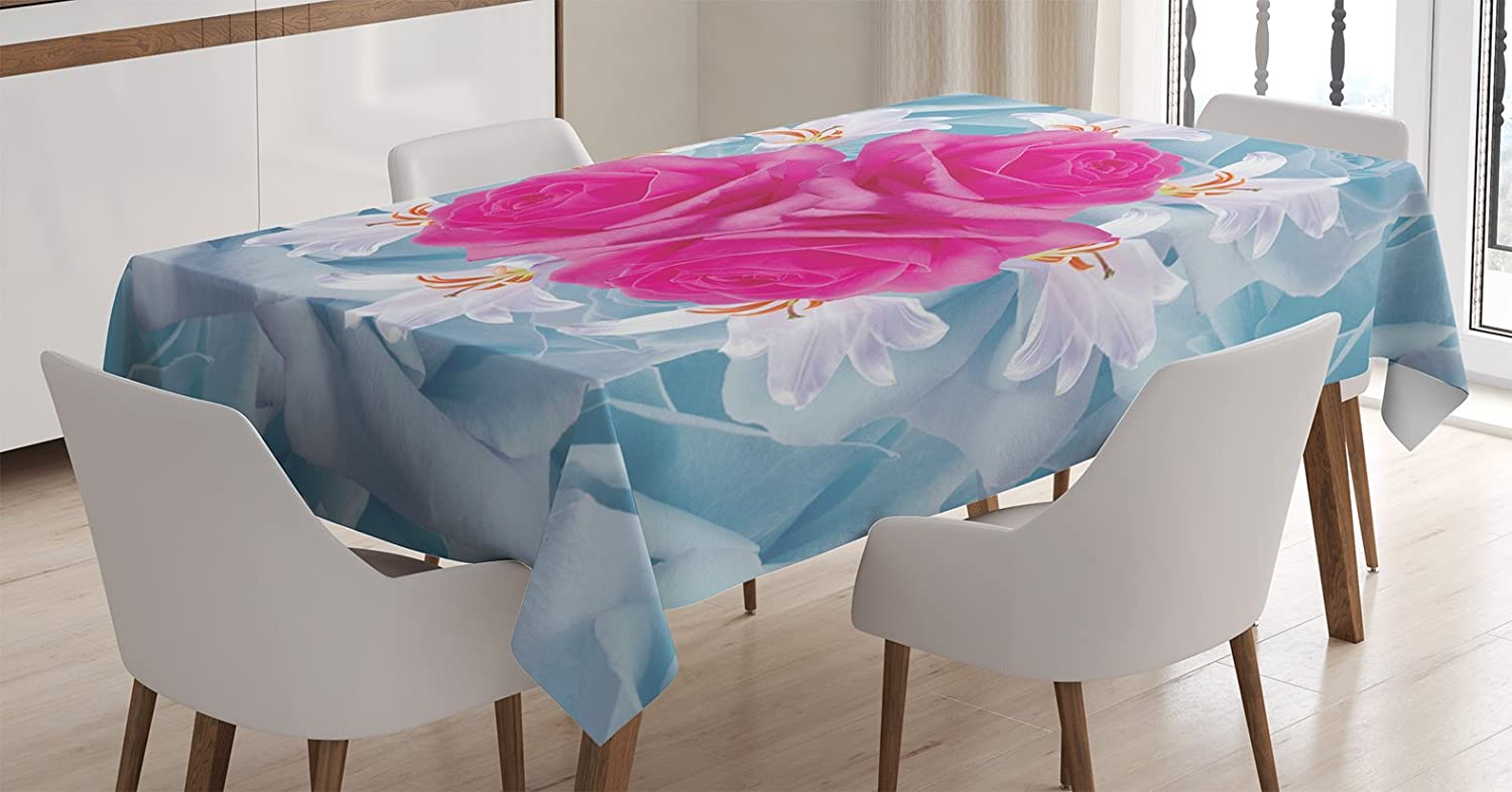 """Ambesonne Rose Tablecloth, Graphic of Roses and Lilies with Soft Pastel Colors Nature Blooms Springtime Theme, Rectangular Table Cover for Dining Room Kitchen Decor, 60"""" X 84"""", Fuchsia Blue"""