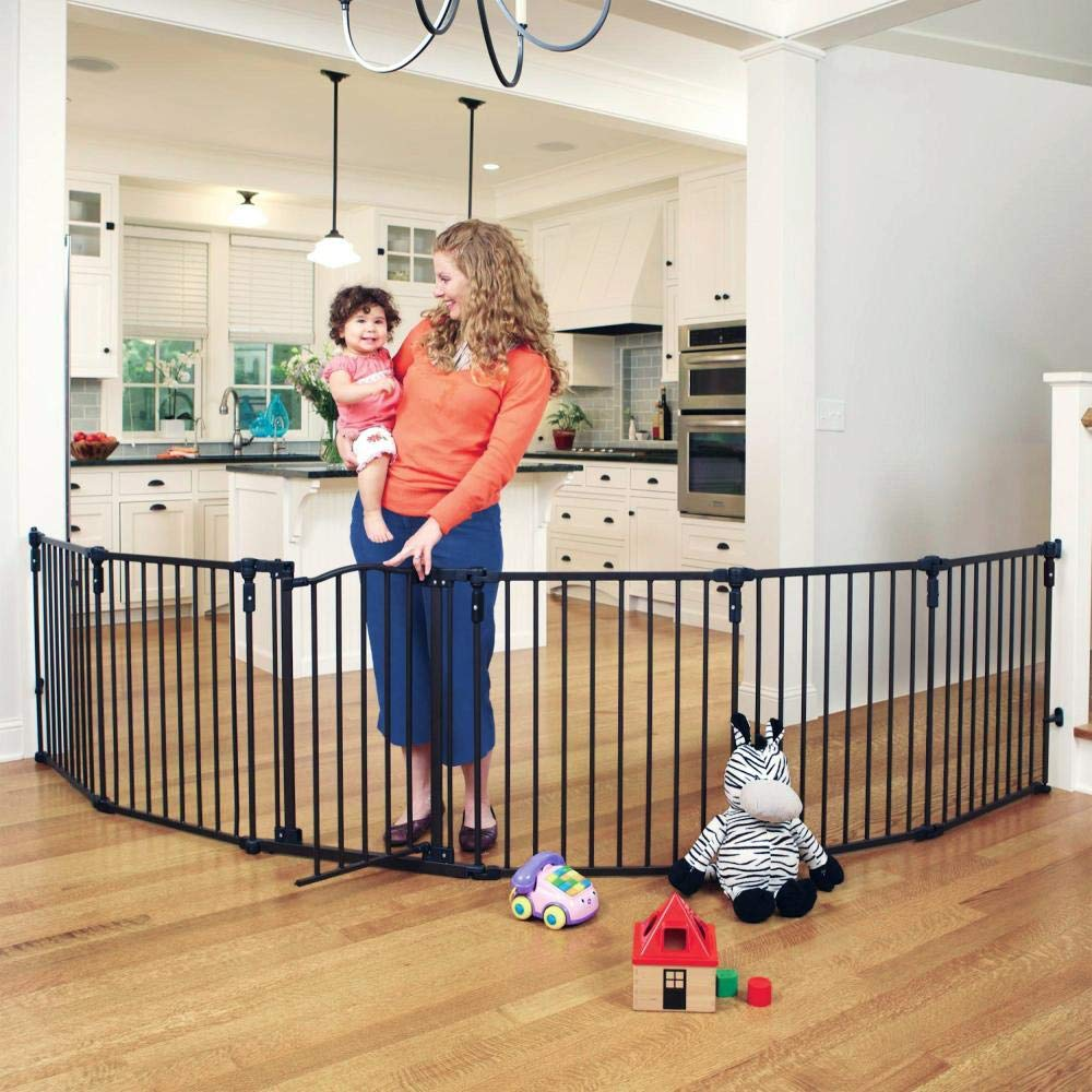 Toddleroo by North States 3-in-1 Arched D cor Metal Superyard 144 long extra-wide gate, barrier or play yard. Hardware or freestanding. 6 panels, 10 sq.ft. enclosure 30 tall, Matte Bronze