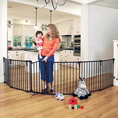 Toddleroo by North States 3 in 1 Arched D cor Metal Superyard 144 long extra wide baby gate, barrier or play yard. Hardware or freestanding. 6 panels, 10 sq.ft. enclosure 30 tall, Matte Bronze