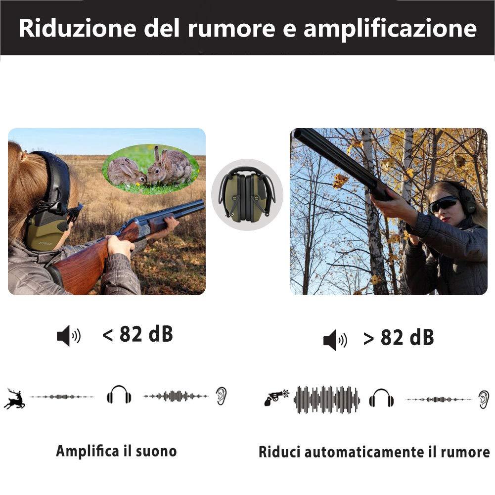 Cuffie per la Caccia con Amplificazione Sonora e Riduzione del Rumore ZOHAN Cuffie Antirumore Elettroniche nero SNR 27dB