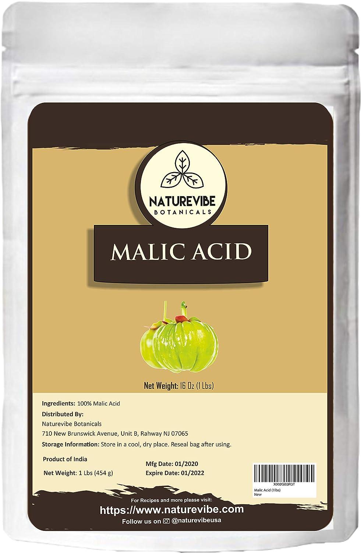 Naturevibe Botanicals Malic Acid Powder, 1lb | Alpha Hydroxy Acid | Boosts Immunity (16 ounces)