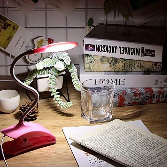Lámpara de mesa con clip Regulable Cama Libro de lectura Luz ...
