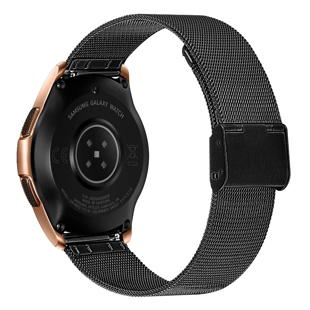 MeiLiio Band 20mm for Galaxy Watch 42mm, Stainless Steel Wrist Band Metal Strap Bracelet Replacement Band Compatible with Samsung Gear S2/Galaxy Watch Active 40mm/Active2 40mm 44mm (Black) by MeiLiio