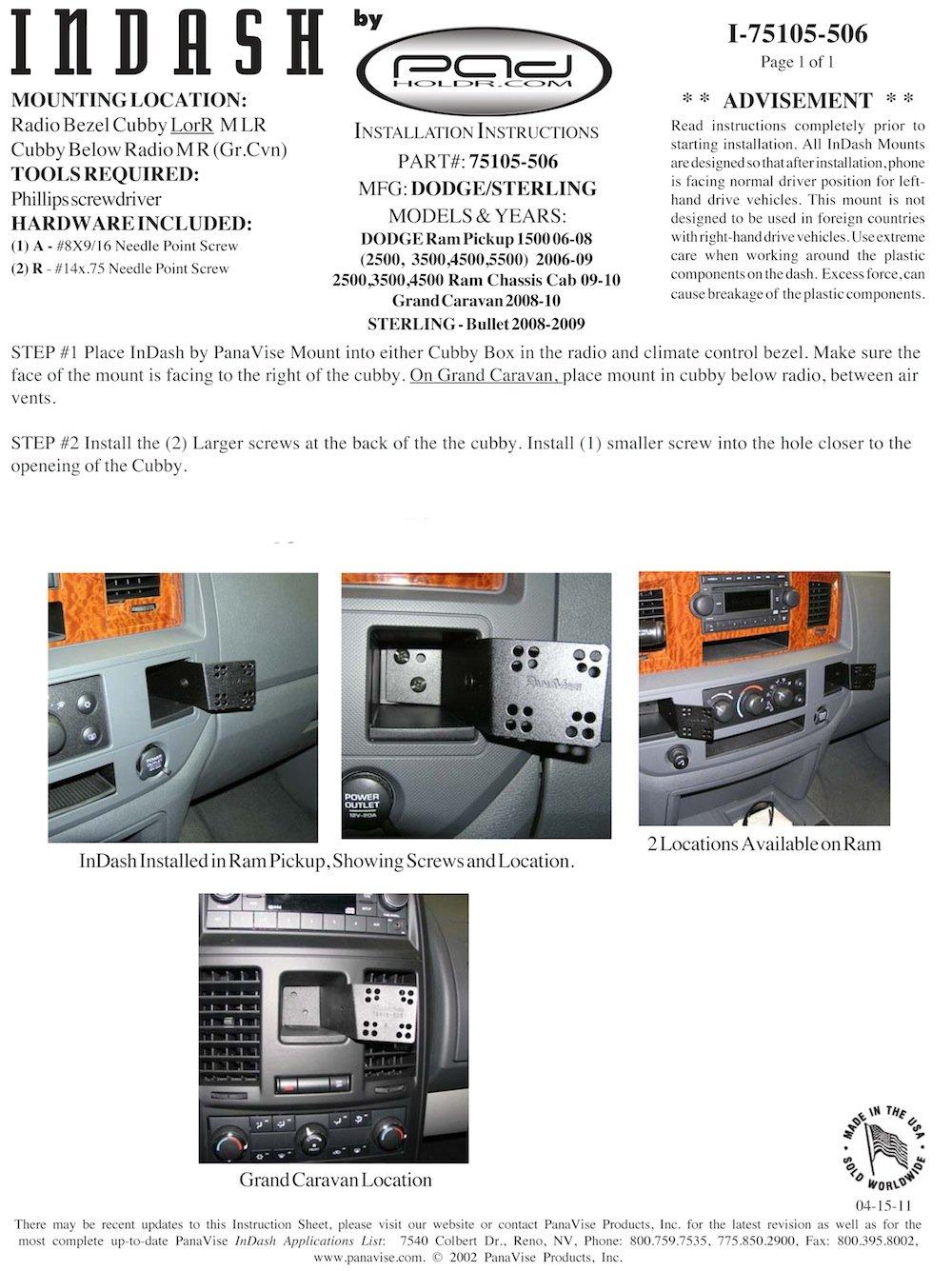 Padholdr Utility Series Premium Locking Tablet Dash Kit for 2008-2009 Sterling Truck Bullet Pad Holdr PHU3275105-506-3