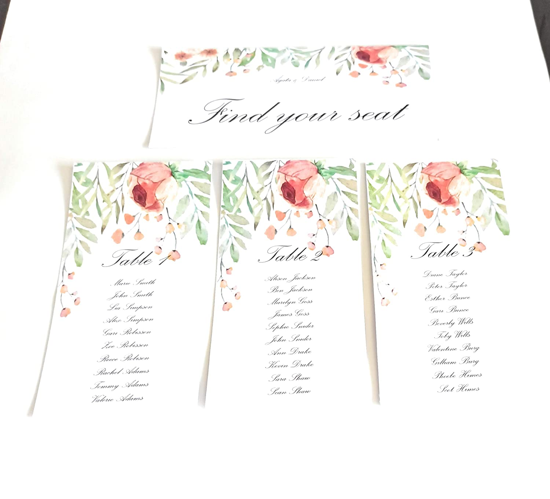 Seating plan para tu evento. 10 tarjetas + Cabecero: Amazon.es: Handmade