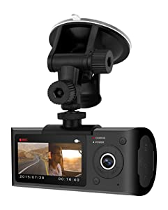 "Blaupunkt - Dual Camera DashCam with GPS, 2.7"" LCD Screen, Wide Angle View, Continuous Recording"