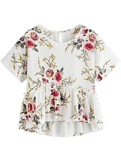 9528fb2851 SheIn Women's Short Sleeve Ruffle Hem Floral Print Peplum Top Blouse